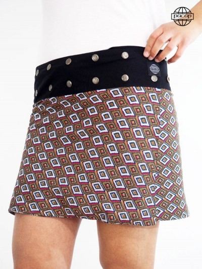 Jupe courte, jupe femme, jupe ethnique, jupe caramel, jupe noire, jupe blanche, jupe à boutons pressions, jupe droite