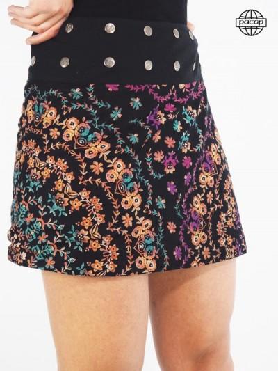 Jupe courte, jupe à boutons pressions, jupe droite, jupe évasée, jupe à fleurs, jupe colorée, jupe femme