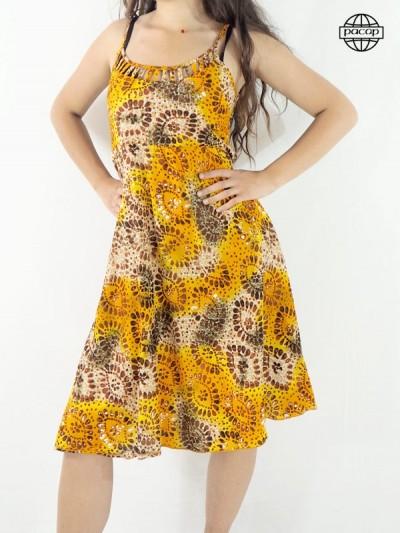 Robe bretelles fines, robe midi, robe mi-longue, robe jaune, robe femme, robe d'été, robe orange, robe originale