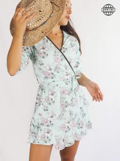 Robe cache-cœur, robe cœur croisé, robe à nouer, robe style japon, robe courte, robe bleue, robe à fleurs