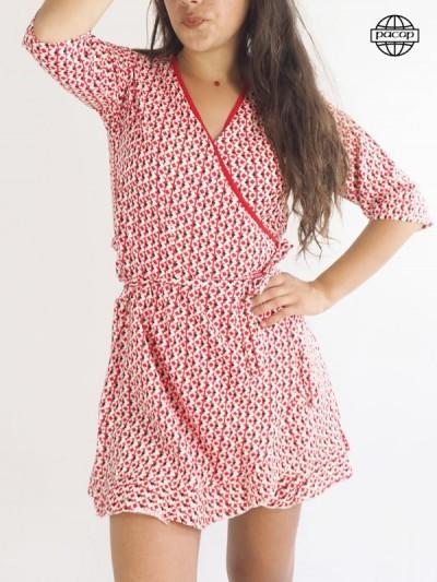Robe portefeuille, robe courte, robe cache-cœur, robe rouge, robe femme, robe d'été, robe à nouer