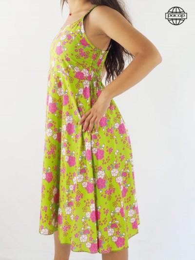 Mid-long dress, floral print dress, dress dress, dress with flowers, pink dress, midday dress, flared dress