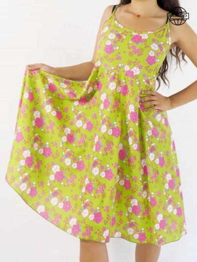 Fine dress dress, green dress, flowered dress, pink dress, dress summery, dress woman, dress lunch