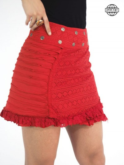 Jupe gipsy, jupe à boutons pressions, jupe en coton, jupe en dentelle, jupe été, jupe femme, jupe rouge, jupe hippie, jupe midi