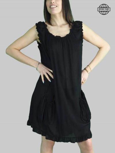 Robe courte, robe ample, robe évasée, robe noire, robe unie, robe encolure ronde, robe sans manches, robe été, robe femme