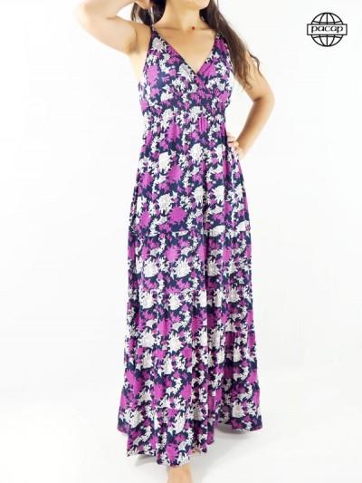 Robe longue, robe été, robe bretelles fines, robe violette, robe blanche, robe femme
