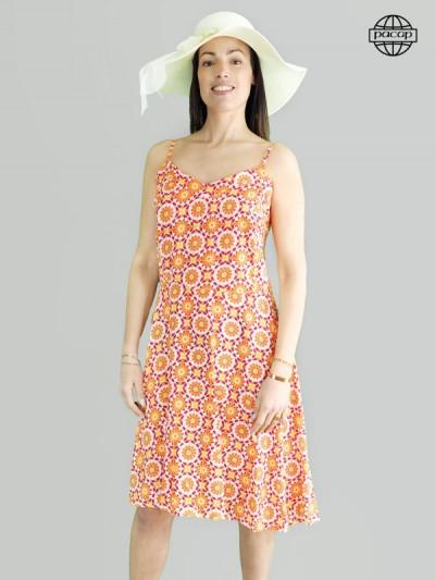 Robe mi-longue, robe bretelles fines, robe orange, robe à imprimé géométrique, robe été, robe femme