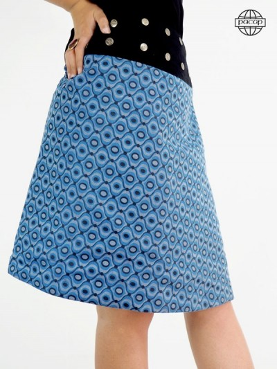Long skirt female small black and orange flowers on blue background pressure belt buttons