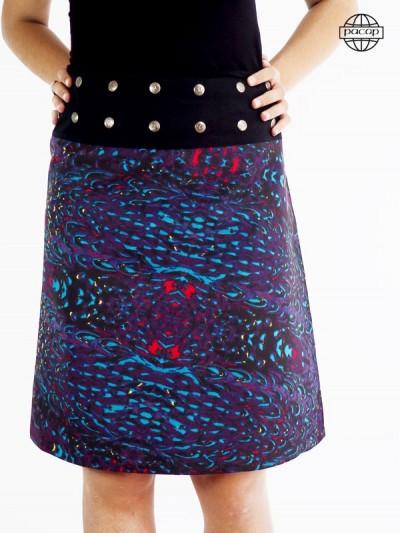 Long skirt fancy pattern, purple, blue, red belt buckle