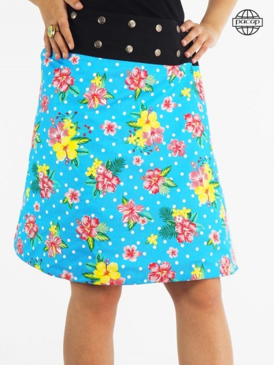 jupe été bleue fleurie
