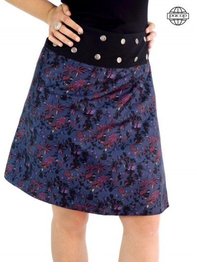 jupe longue femme pastel, fleur, feuillage, ceinture large noire réglable