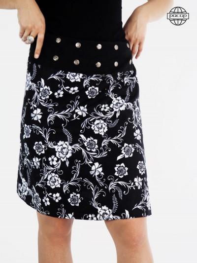 jupe longue femme été fleurs grises sur fond noir, ceinture large ajustable