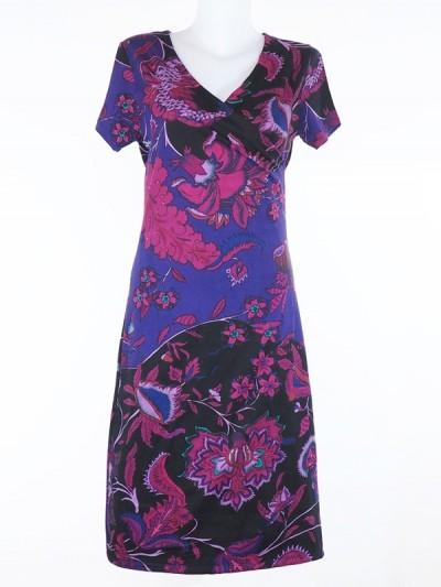 Summer dress, woman dress, purple dress, fuschia dress, collar dress v, cross-hearted dress, short sleeve dress.