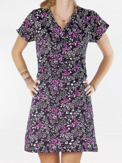 Robe à fleurs, robe courte, robe manche courte, robe midi, robe femme, robe été, robe violette, robe fleurie