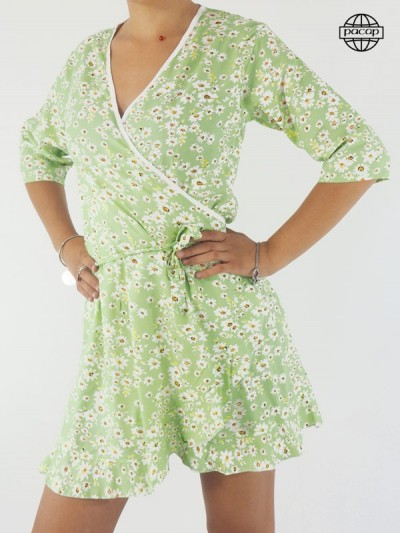 Robe Courte Verte Portefeuille Femme À Imprimé Fleuri -