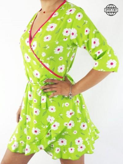 Robe Courte Verte Portefeuille Femme À Imprimé Fleuri Blanc