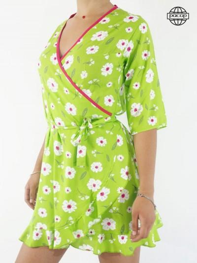 Robe Courte Verte Portefeuille Femme À Imprimé Fleuri
