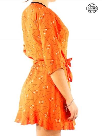 Robe Orange Portefeuille à Imprimé Géométrique Courte Cache-Coeur Été