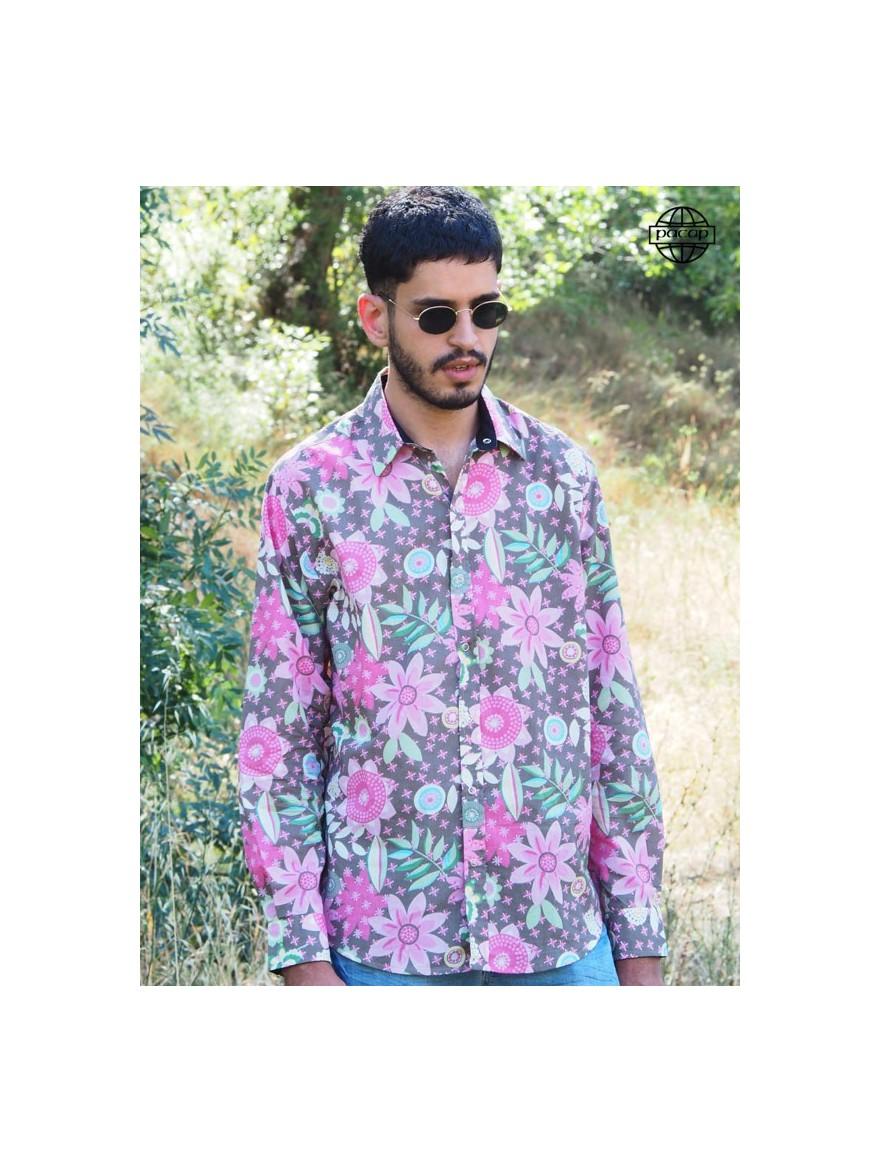 Chemise Hawaiienne pour Homme à Fleurs Rose Couleur Bonbon