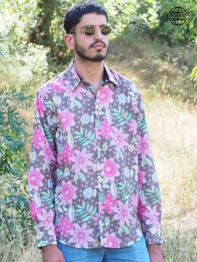 grossiste Chemise originale colorée Hawaiienne pour Homme à Fleurs Couleur Bonbon