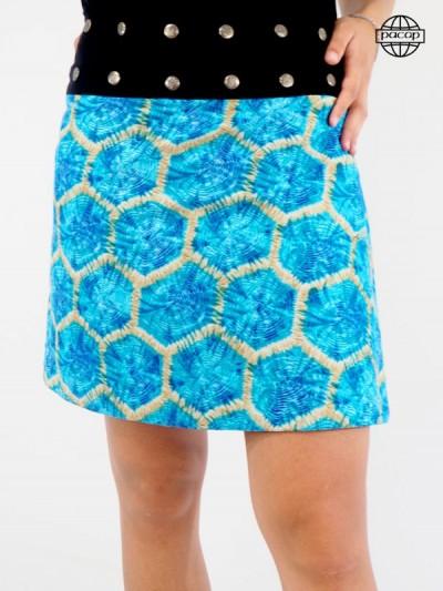 Skirt Trapèze Mi-Longue 2 en 1 at Imprint Fantasia Blue Large Black Belt Buttons