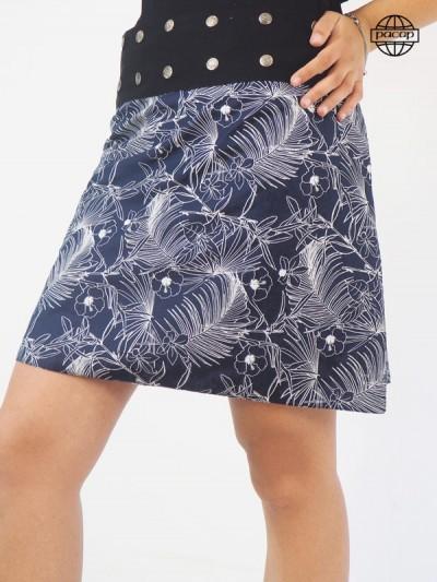 Jupe Femme Èté Mi-Longue Bleue Large Ceinture Noire Boutonnée