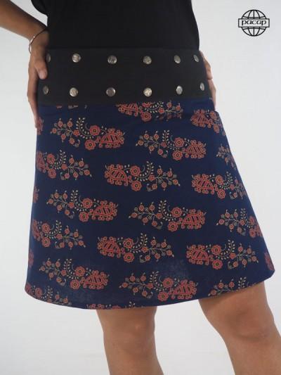 Jupe Genou Asymétrique Imprimé Floral Bleu Reversible Large Ceinture Noir Boutonnée Femme Eté