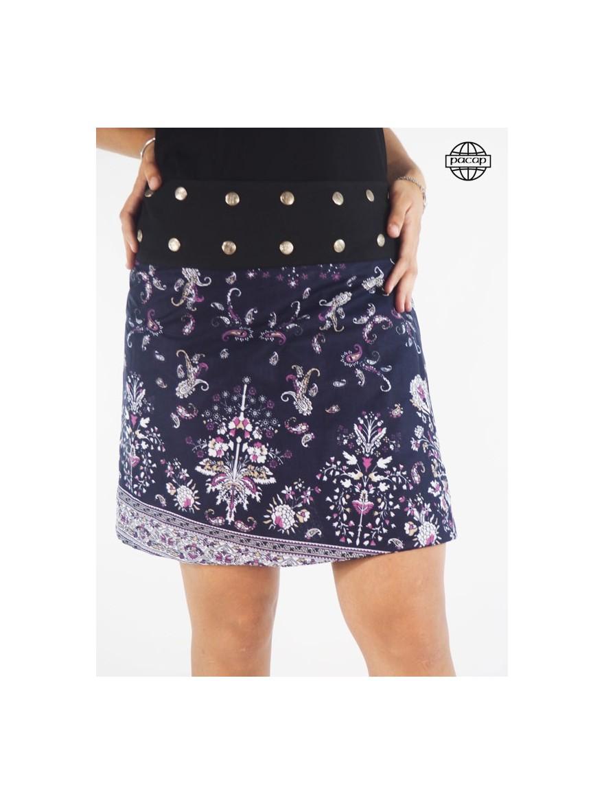 Skirt Genou Asymmetric Impressed Floral Blue Reversible Large Belt Black Buttons Female Eté