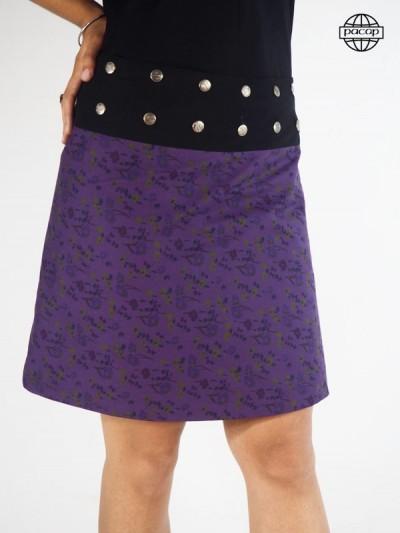 Skirt Trapèze Mi-Longue Violette Asymetrical Size Unique Large Black Belt Buttons Woman Eté