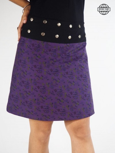 Jupe Trapèze Mi-Longue Violette Asymétrique Taille Unique Large Ceinture Noire Boutonnée Femme Eté