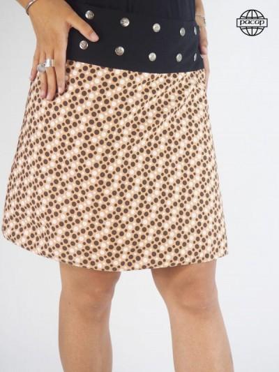 Skirt Trapèze Mi-Longue Marron Printed at Pois Large Black Belt Buttons Woman Eté