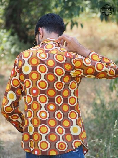 Chemise Été Africaine Marron et Orange Manche Longues