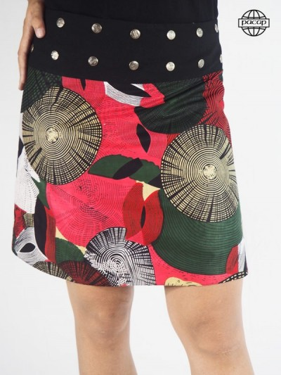 Jupe Patineuse Mi-Longue Multicolore Réversible Boutonnée Taille Unique Femme Eté