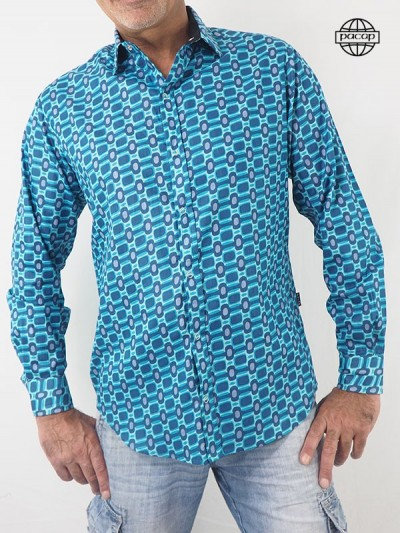 Shirt Not expensive Summer Vintage 70's to Carreaux Blue wholesaler