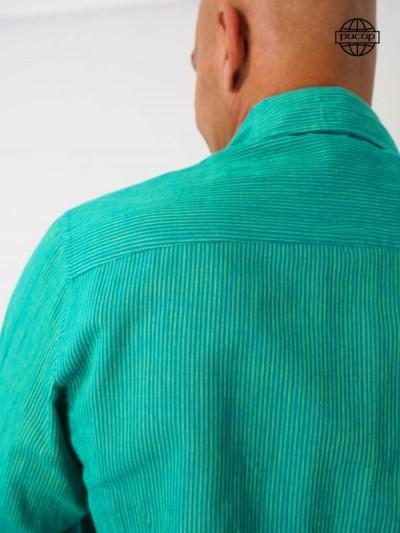Chemise Été Classique à Rayure Bleu et Vert Col Italien-BAER