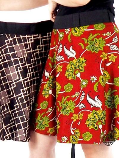 Jupe Réversible Rouge portefeuille vintage Marron Viscose Géométrique et Fleur Taille Unique  pacap