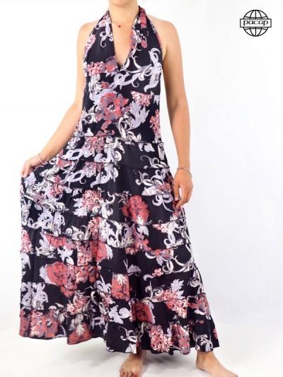 Robe longue Dos Nu en viscose imprimé floral