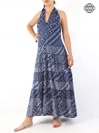 Robe Longue Bleue Col V Femme Imprimé Patchwork - REHEMAN 02