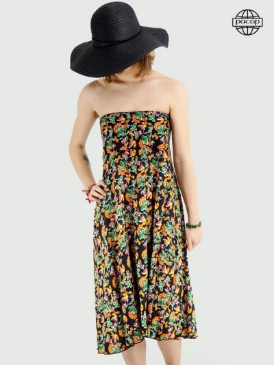 Bustier dress for print female flowers bloom
