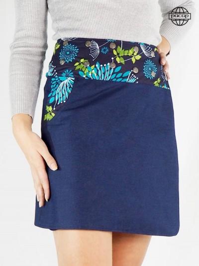 Jupe Grande Taille Patineuse en Jean Bleu/Noir - JIMO XL