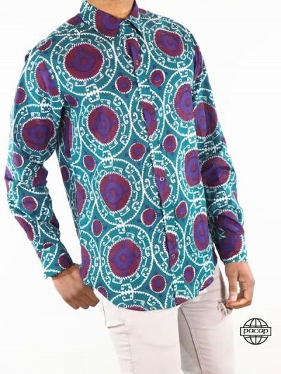Chemise Wax Violette sur fond Bleu Marque Française - DAEGU