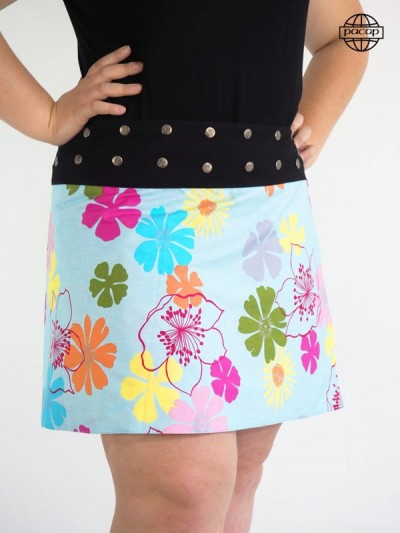 Skirt Blue Grosse (Kits) Medium Skate Reversible Reason Floral Large Black Belt Buttons French Brand
