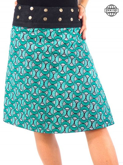 Skirt Skate in Denim Zippé Reason Vintage Bleu-KARIDJA