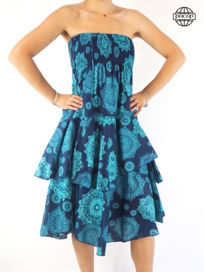 Robe/Skirt Blue Longue Volante Size Unique French cotton brand responsible