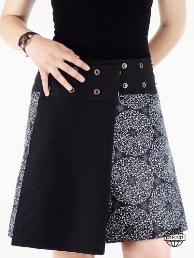 jupe à bouton femme taille reglable couleurs noire