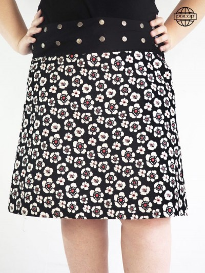 Wholesale Jupe Tulip Printed Black and White Size Large