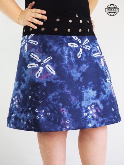 Skirt Long Asymetrical Blue Size Large Ajustable Black Belt Buttons French Brand Responsible Not Dear