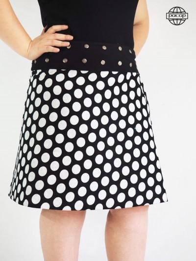 jupe noire et blanche grande taille imprimé pois taille unique