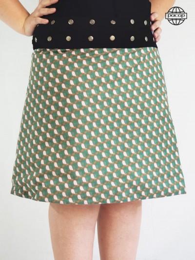 Skirt Tulip Verte Maxi Reason Geometric for Woman Ronde