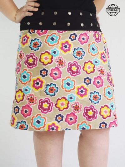 Skirt Maxi Asymetrical Colorée à Fleurs Size Plus Large Ceinture Noire Boutée Femme Ronde Marque Française Responsible Officer